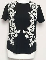 ZARA Black White Floral Print Embroidered Short Sleeve Boxy T-Shirt Top Size S 8