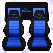 Front Rear Chevy Camaro Convertible Black Medium Blue Seat Covers 2010-2015 ABF