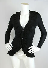 Vtg 1960's Yves Saint Laurent S Cardigan Sweater Black Metallic Ruffle Front YSL