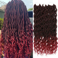 """18"""" Ombre Goddess Faux Locs Curly Crochet Braids Synthetic Twist Hair Extensions"""