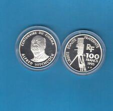 Centenaire  du Cinéma   100 Francs en argent 1995 Alfred HITCHCOCK