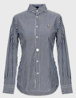 Polo Ralph Lauren Women's Slim Fit Kendall Shirt In Black / White Striped UK/8