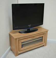 Stratton Oak Modern Corner TV Stand / with Glass Front Panel / Solid Wood / NEW
