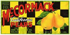 PEAR CRATE LABEL COMMERCIAL ART 1940S McCORMACK WALNUT GROVE CHECKERS 1//2 BOX