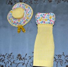 BARBIE CLONE VINTAGE  DRESS SHEATH GINGHAM YELLOW AND PASTELS, HAT, SHOES