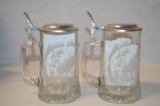 CLEAR ETCHED GLASS STEIN PEWTER LID BEER STEIN  1996 OSU Beaver homecoming pair