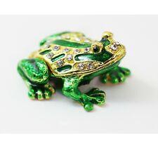 Bejeweled Enameled Animal Trinket Box/Figurine With Rhinestones- Tiny Frog