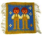 Vintage Wool Flax Rug Wall Hanging Handmade People 12x12