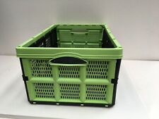 Foldable 32 Litre plastic crate box with handles easy construction 50x33x21cm