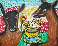 Oberhasli Drinking Coffee Dairy Goat Art 8 x 10 Print Signed Farm Countryside