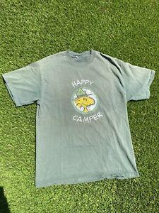 VTG 90s Changes Happy Camper Peanuts Sun Faded Snoopy Cartoon T Shirt XL