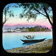 Magic Lantern Slide Colour Tinted The Italian Lakes Isola Bella From The Shore