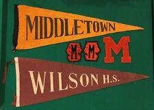 New ListingVintage Middletown & Wilson High School Felt Pennants & Varsity Letters Lot Ct