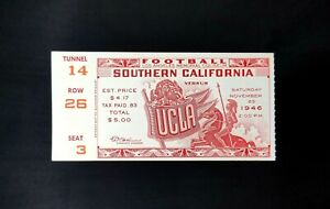 1946 UCLA Bruins vs USC Trojans College Football Vintage Ticket LA Coliseum VGEX