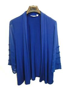 Susan Graver L Dark Blue Cardigan Shirt Liquid Knit Sheer 3/4 Sleeve Day Evening