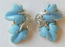 Vintage Silver-tone & Light Blue Thermoset Grape Ivy Leaves Clip On Earrings