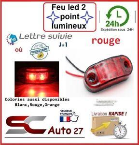 Feu led Auto,Moto,Camion,Remorque,Caravane,gabarit 9,12,24,30,volt X2 pcs rouge