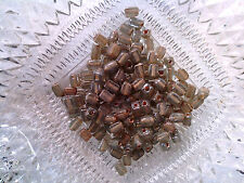 Vtg 200 RUSTIC AMBER COLOR ROUGH HEWN SPACER BEADS GLAZED SQUARE #110410f