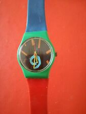 Vintage Swatch Watch Ladies Abstract Art Red Green Blue 1980's?