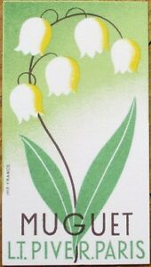 Perfume Card 1930s Art Deco: Muguet - L. T. Piver - Paris, France