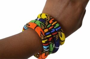Authentic Tribal African Beaded Bangle Bracelets