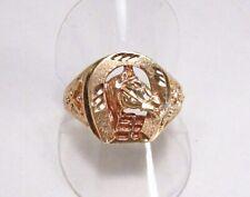 Vintage 1990s Saro Designer 10K Gold Good Luck Horse Shoe Lucky Racing Ring S 11