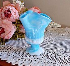 Fenton Blue & White Marble Slag Glass Handkerchief Vase Cabbage Rose RARE