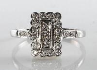 LOVELY 9CT  9K WHITE GOLD 23 DIAMOND EDWARDIAN ART DECO INS RING FREE RESIZE