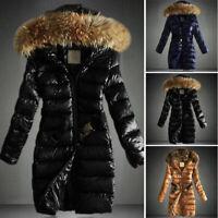 Women Glossy Puffer Coat Jacket Hooded Fur Collar Long Parka Winter Warm Outwear