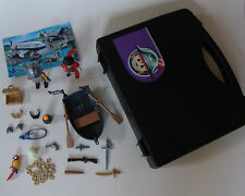 Playmobile pirate figures & row boat in carry case set/lot fig boîte de rangement