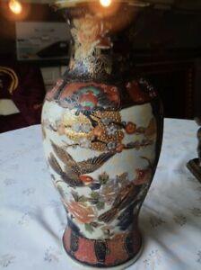 Chinesische Bodenvase Vase Vögel Blumen 31cm