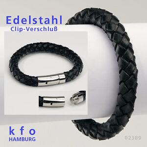 XXL Leder Armband Edelstahl Armband geflochten rund schwarz Clip Verschluß 02389