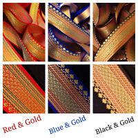 2 Yard Zari Gold Red Black blue border Craft SewOn Indian Saree Suit Border Trim
