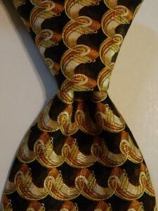 ERMENEGILDO ZEGNA Men's Silk Necktie ITALY Luxury Geometric Brown/Orange EUC