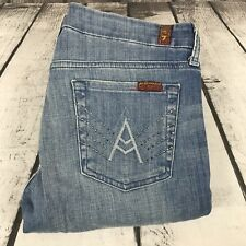 """7 for All Mankind Light Wash Sparkle """"A"""" Pocket Distressed Womens Jeans 29 29x33"""