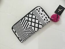 LARGE ZIP AROUND WALLET/PURSE/TRAVEL DOCUMENTS POUCH -BLACK & WHITE WITH POM POM