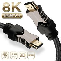Braided 8K HDMI 2.1 Cable Compatible with Samsung QLED TV, Apple TV, LG OLED TV