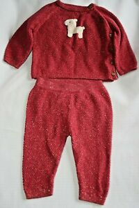 Mothercare girls knitted jog suit - age 6 - 9 months