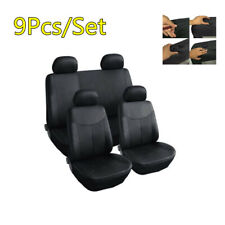 Universal Luxury PU Leather Car Seat Cushions Full Set Covers Protector 9X Black