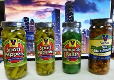 VIENNA BEEF Chicago Hot Dog Condiment Kit, 2 Sport Peppers, Relish, Giardiniera
