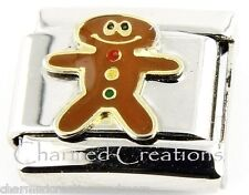 Gingerbread Boy Christmas Cookie 9mm Italian Charm Stainless Modular Link