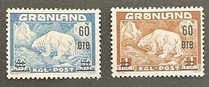 Greenland 1956. 40 Ore & 1k With 60 Ore Surcharge (MH)