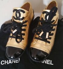 Chanel Black Cap Toe Lace Up Sneaker In Gold (Size 36.5)