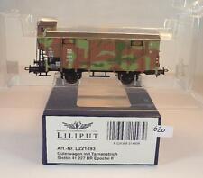 Liliput H0 L221493 Güterwagen Tarnanstrich Stettin Militär DR Epoche II OVP #620