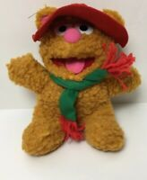 1987 Muppets Baby Fozzie Bear Christmas Red Hat and Red/Green Scarf Plush 9""