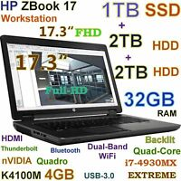 "# Workstation 17.3"" HP ZBook 17 FHD i7-EXTREME (1TB SSD 2TB+2TB 32GB) K4100M 4GB"
