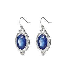 Fashion Jewelry Gift Swiss Blue Fire Topaz Gemstone Silver Dangle Hook Earrings