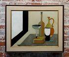 Minetti - Bottle & Decanter Cubist Still Life -1960s Oil painting