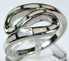 High Quality White Fire Opal Inlay 925 Sterling Silver Ladies Ring size 6,7,8,9