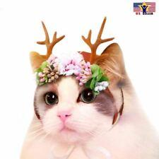 Pet Elk Cat Antler Headband Flower Pet Headwear Christmas Deco Costume Cosplay